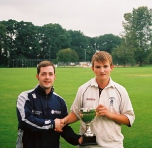 West Development Officer Iain Stewart presents the West u15 trophy for 2008